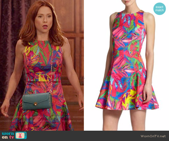 Milly Tropical Print Fit & Flare Dress worn by Ellie Kemper on Unbreakable Kimmy Schmidt