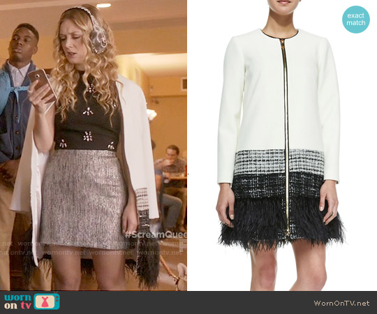 Milly Zip Front Feather Trim Jacket worn by Billie Lourd on Scream Queens