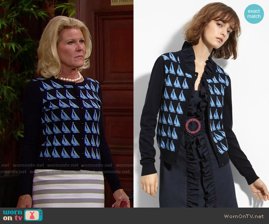 Milly Sailboat Jacquard Cardigan worn by Alley Mills on The Bold & the Beautiful