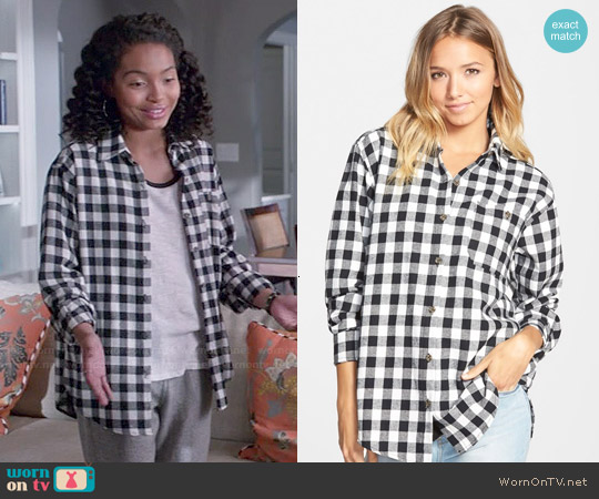 Mimi Chica Plaid Cotton Flannel Shirt in Black/White Buffalo worn by Zoey Johnson on Blackish