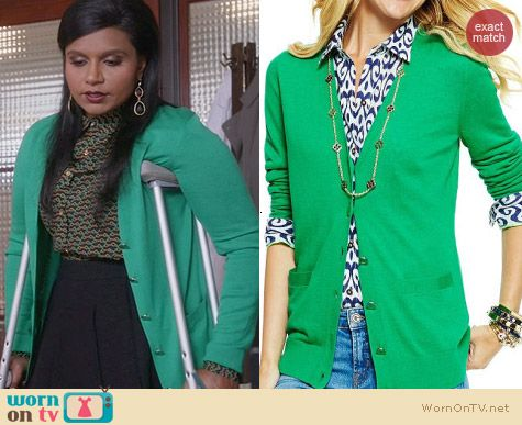Mindy Kaling Fashion: C Wonder Green Signature Cardigan worn on The Mindy Project