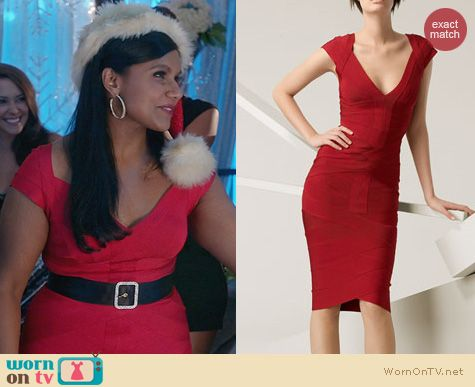 The Mindy Project Fashion: Herve Leger Angled Bandage Dress in Red worn by Mindy Kaling