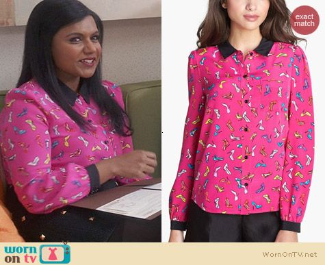 Mindy Project Fashion: Kate Spade Lorelle Top in Vivid Snapdragon worn by Mindy Kaling