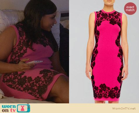 Mindy Kaling Fashion: Michael Kors Pink and Black Lace Print Cashmere Dress worn on The Mindy Project