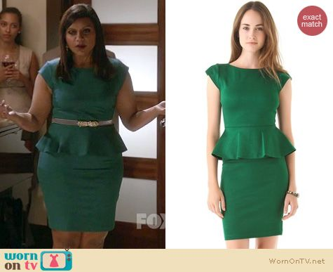 The Mindy Project Fashion: Alice + Olivia Victoria peplum dress worn by Mindy Kaling