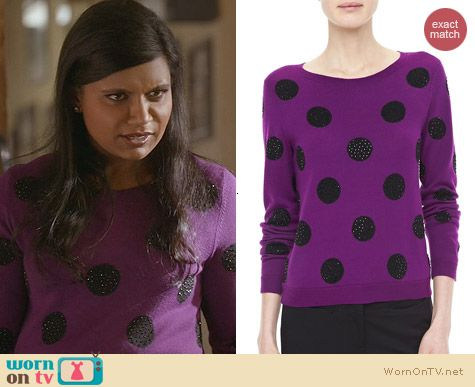 The Mindy Project Fashion: Alice + Olivia Celyn Sequin Polka Dot Sweater worn by Mindy Kaling