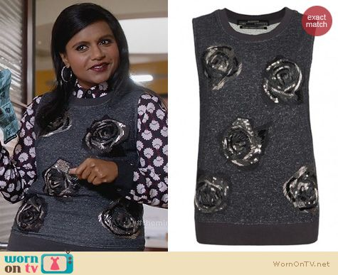 The Mindy Project Fashion: All Saints Beaded Rose Sweater Vest worn by Mindy Kaling