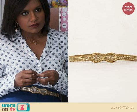 The Mindy Project Fashion: Anthropologie Glistening Bow Belt worn by Mindy Kaling