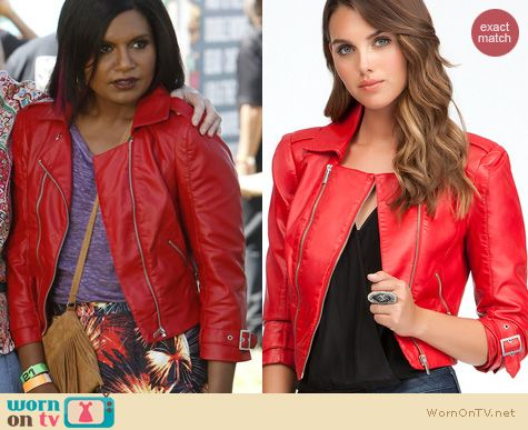 The Mindy Project Fashion: Bebe red leatherette jacket worn by Mindy Kaling