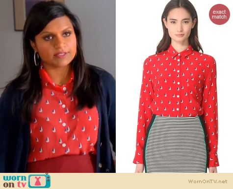 The Mindy Project Fashion: Boy by Band of Outsiders Sail boat shirt worn by Mindy Kaling
