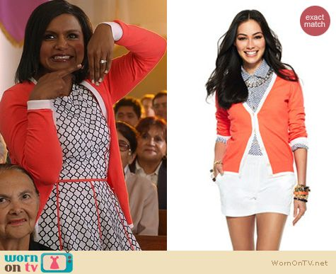 The Mindy Project Fashion: C Wonder Orange Tipped V-Neck Cardigan worn by Mindy Kaling
