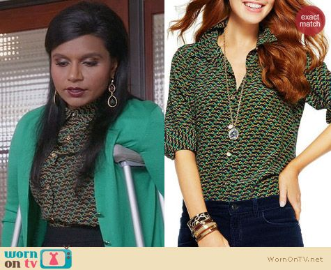 The Mindy Project Fashion: C Wonder Silk Equestrian Print Shirt worn by Mindy Kaling