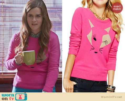 The Mindy Project Fashion: C Wonder Winking Fox Sweater worn by Zoe Jarman