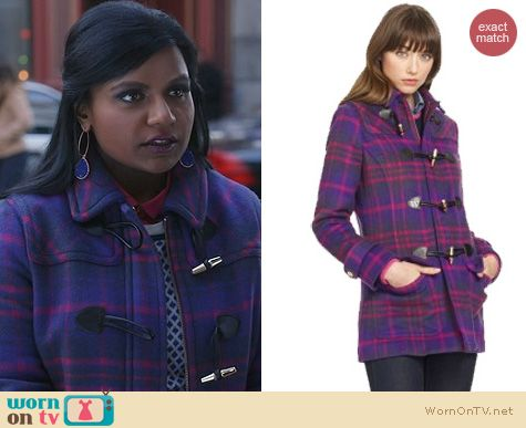 The Mindy Project Fashion: C Wonder Wool Plaid Coat worn by Mindy Kaling
