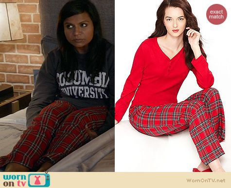 The Mindy Project Fashion: Charter Club Flannel Plaid Pajamas worn by Mindy Kaling