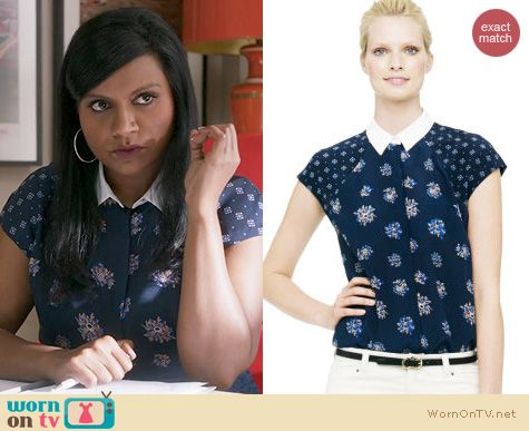 The Mindy Project Fashion: Club Monaco Helene Printed top worn by Mindy Kaling