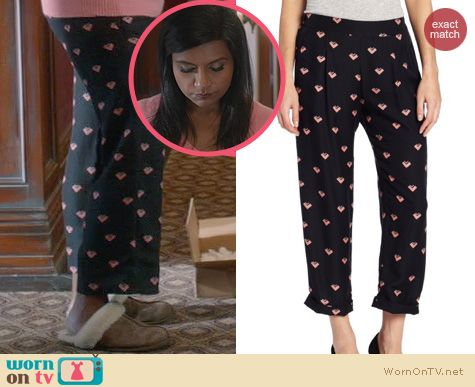 The Mindy Project Fashion: Corey Lynn Calter Taylor Cuffed Pants worn by Mindy Kaling