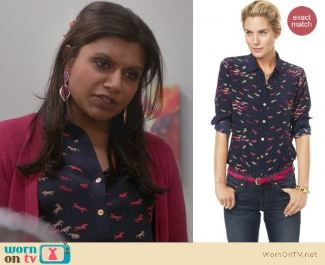 Mindy Project Fashion: C Wonder stampede blouse worn by Mindy Kaling