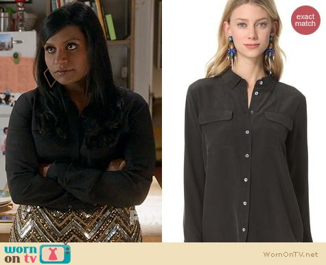 Fashion of The Mindy Project: Equipment Signature Blouse worn by Mindy Kaling
