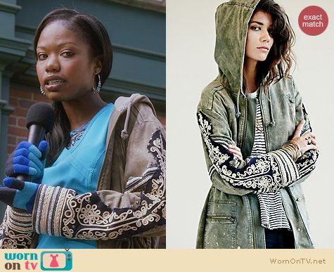 The Mindy Project Fashion: Free People Golden Quills Military Parker worn by Xosha Roquemore