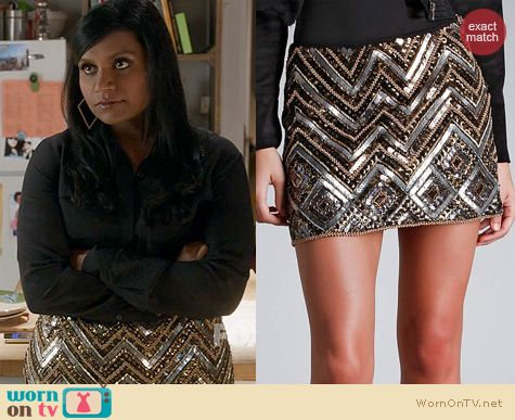 The Mindy Project Style: Hale Bob Beaded Challis Skirt worn by Mindy Kaling
