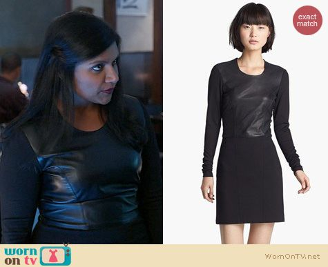 The Mindy Project Fashion: Helmut Lang Leather Combo Dress worn by Mindy Kaling