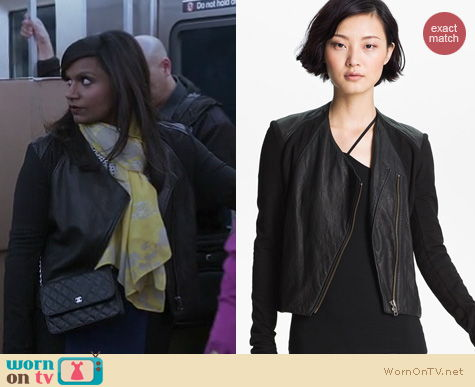 The Mindy Project Fashion: Helmut Lang washed leather jacket worn by Mindy Kaling