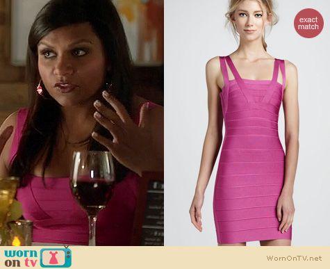The Mindy Project Fashion: Herve Leger double strap bandage dress worn by Mindy Kaling
