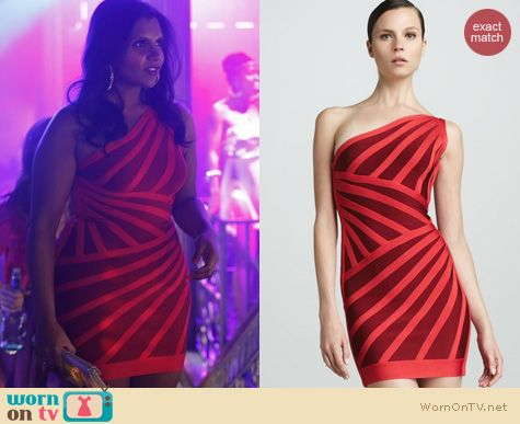 The Mindy Project Fashion: Herve Leger One Shoulder Two Tone Stripe dress worn by Mindy Kaling