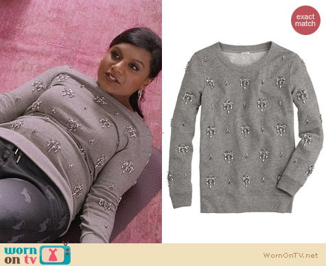 The Mindy Project Fashion: J. Crew Jeweled Chandelier Sweatshirt worn by Mindy Kaling