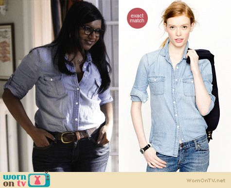 Mindy Project Fashion: J.Crew chambray shirt worn by Mindy Kaling