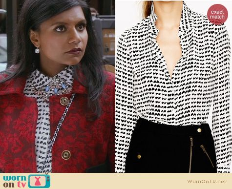 The Mindy Project Style: J. Crew silk boy shirt in tossed hearts worn by Mindy Kaling