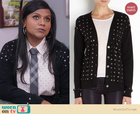 The Mindy Project Fashion: Juicy Couture Crystal Embellished Cardigan worn by Mindy Kaling