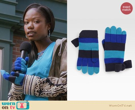 The Mindy Project Style: Kate Spade Striped Wool Gloves worn by Tamra