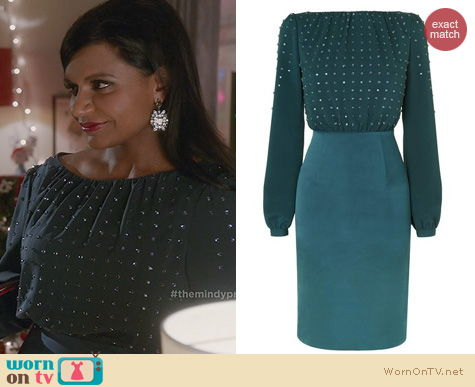The Mindy Project Fashion: LK Bennett Lavinia Diamante Dress worn by Mindy Kaling