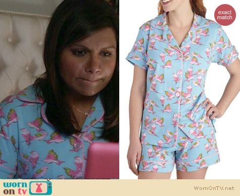 Mindy Project Fashion: Modcloths With Dreams to Sparrow pajama set by Bedhead worn by Mindy Kaling