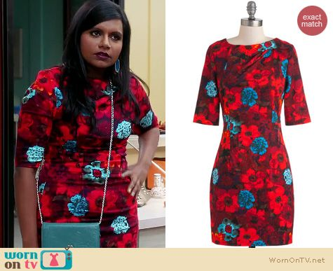 The Mindy Project Fashion: ModCloth Feel the Vibrant Dress worn by Mindy Kaling