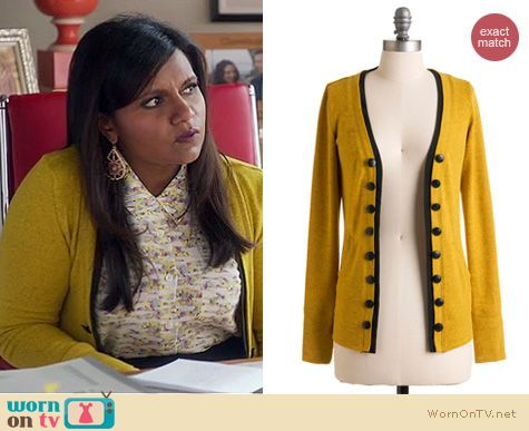 The Mindy Project Fashion: Modcloth's Fine and Dandelion cardigan worn by Mindy Kaling