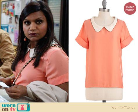 The Mindy Project Fashion: ModCloths Peachtree City top worn by Mindy Kaling