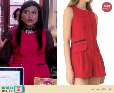The Mindy Project Fashion: Nanette Lepore Sandstorm Romper worn by Mindy Kaling