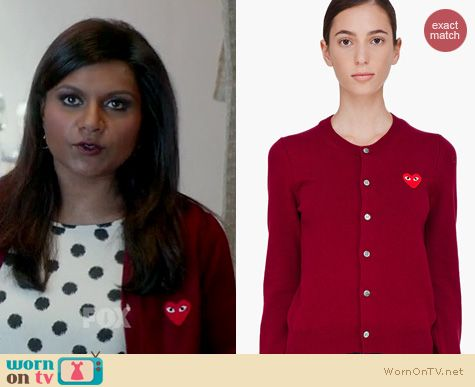 The Mindy Project Fashion: Comme Des Garcons PLAY cardigan worn by Mindy Kaling