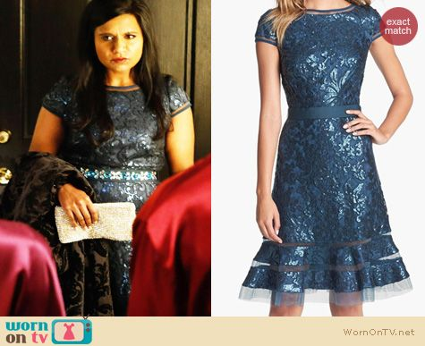 The Mindy Project Fashion: Tadashi Shoji Embellished Lace Fit & Flare Dress worn by Mindy Kaling