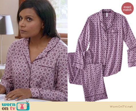 The Mindy Project Fashion: Target Gilligan & O'Malley Challis pajamas worn by Mindy Kaling