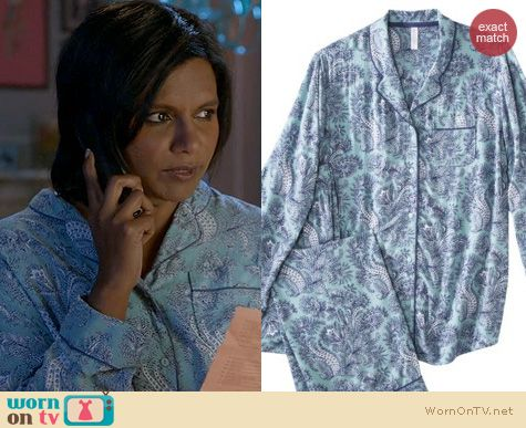 Mindy Project Fashion: Target Gilligan & O'Malley Challis Pajamas in Cool Waterfall worn by Mindy Kaling