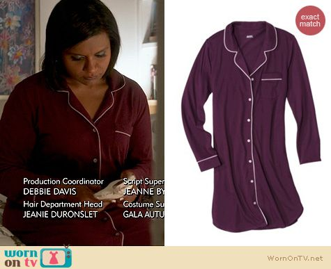 The Mindy Project Fashion: Target's Gilligan & O'Malley Sleepshirt worn by Mindy Kaling