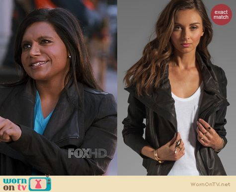 Fashion of The Mindy Project: Vince Shawl Collar Leather Jacket worn by Mindy Kaling