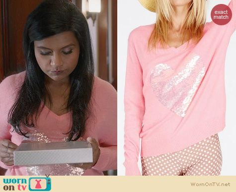 The Mindy Project Fashion: Wildfox Brigitte Sequin Heart Pullover worn by Mindy Kaling
