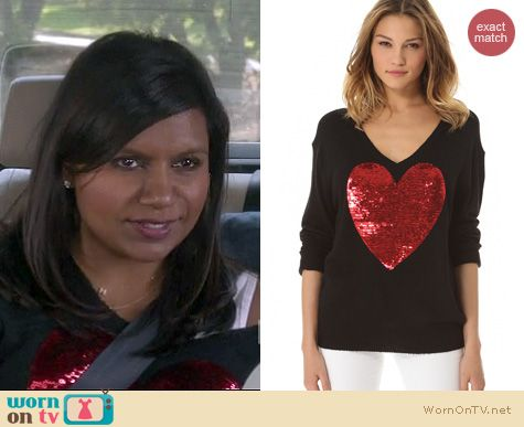 The Mindy Project Fashion: Wildfox Sequin Heart sweater worn by Mindy Kaling
