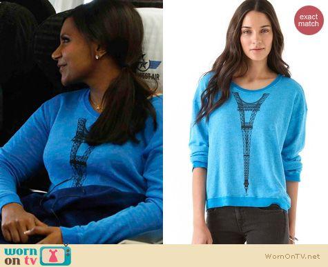 The Mindy Project Fashion: Wildfox Tour Eiffel sweatshirt worn by Mindy Kaling