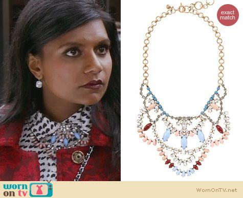 The Mindy Project Jewelry: J. Crew Crystal Lace Necklace worn by Mindy Kaling